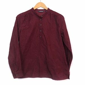 LANDS END Burgundy Maroon Red Corduroy Popover Top